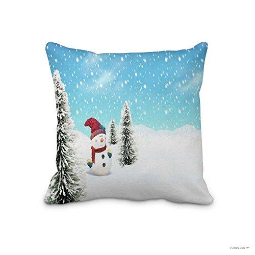 Snowman In Snow Snowfall Tree Carrot Christmas Snowman Claus Santa Wallpaper Throw pillow Case Christmas Decorative Throw Pillow Cover Home Decorative Cute Cabin Cushion Cover 18x18inch (Two - Housewares Pillow Decorative