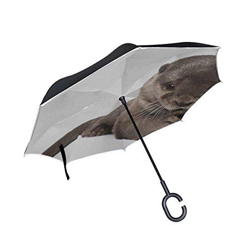RH Studio Inverted Umbrella Otter Animal Wool Fur Beautiful Large Double Layer Outdoor Rain Sun Car Reversible Umbrella ()