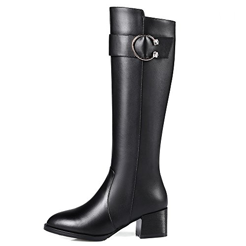 Buckle Knee Boots Nine Genuine Block Leather High Women's Style Black Pointed Heel Handmade Seven Toe qPwaqU8