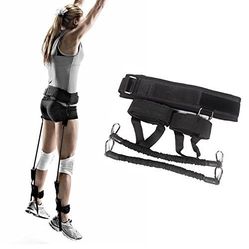 xlpace Vertical Jumping Trainer Jump Resistance Bands System Horizontal leaping Fitness (Black)
