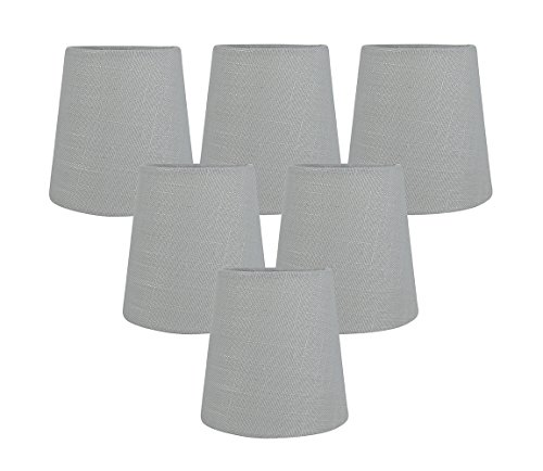 Meriville Gray Linen Clip On Chandelier Lamp Shades, 3.5-inch by 4.5-inch by 4.5-inch (Gray, set of 6)