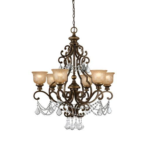 Crystorama 7516-BU-CL-MWP Crystal Accents Six Light Chandelier from Norwalk Collection in Bronze/Darkfinish,
