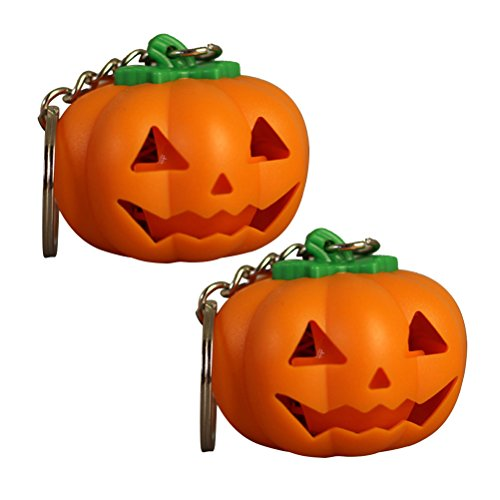 (2 PCS Halloween Pumpkin LED Key Ring Light Up Key Chain Toy Gift with)