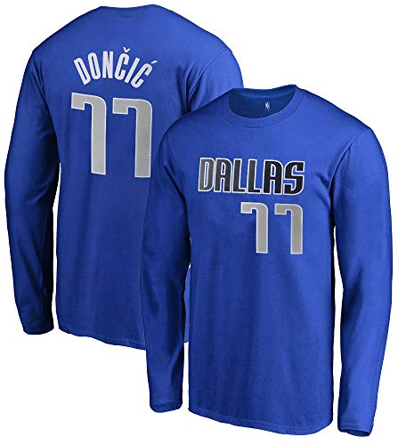 best service 611a5 b90f8 Outerstuff NBA Youth Game Time Team Color Player Name and Number Long  Sleeve Jersey T-Shirt (Large 14/16, Luka Doncic Dallas Mavericks)