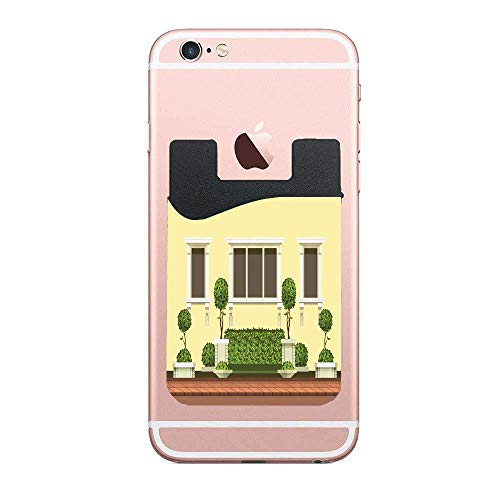 CardlyPhCardH Illustration of a Sweet Home Outdoor with Botanical Art Elements Topiary Credit Card Holder for Back of Phone Wallet Functioning as Phone Card Holder, Phone Card Wallet, iPhone Card (Card Topiary)