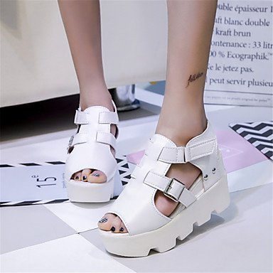 LvYuan Mujer-Media plataforma-Creepers Confort-Sandalias-Exterior Informal-PU-Negro Blanco White