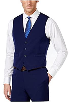 Calvin Klein Slim Fit Navy Solid Four Button New Men's Vest
