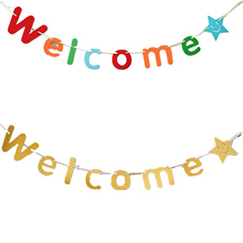 Fully 2x Welcome Paper Upper Letter 3M String Banner Hanging Bunting Photo Booth Prop Party Wedding Decoration (Welcome - Booth To Own Props Photo Make Your How