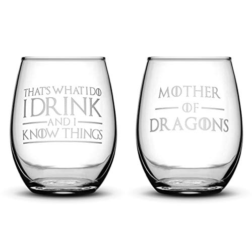 Premium Game of Thrones Wine Glasses, Set of 2, Thats What I Do I Drink and I Know Things, Mother of Dragons, Hand Etched 14.2oz Stemless Gifts, Made in USA, ()