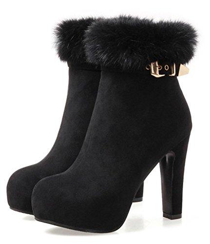 Aisun Mariage Femme Sexy Fourrures De Bottines Noir Chaussures rqrnSxa