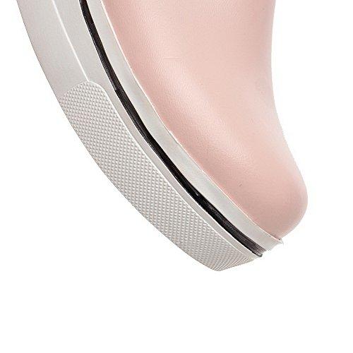 Amoonyfashion Tacco Da Donna In Gonnellino Assortiti Pull Di Scarpe Tacco A Punta Tonde Colore Rosa