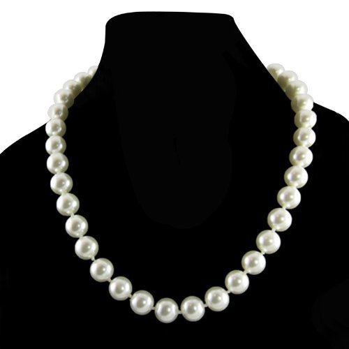 [Cream White 10mm Simulated Faux Pearl Necklace Hand Knotted Strand 18