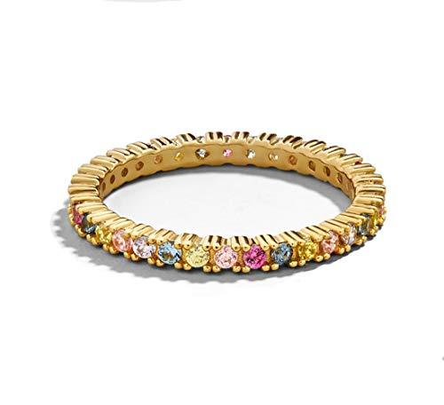Ainiya Rainbow Cubic Zirconia Gold Anniversary Eternity Ring Wedding Bands Rings for Women