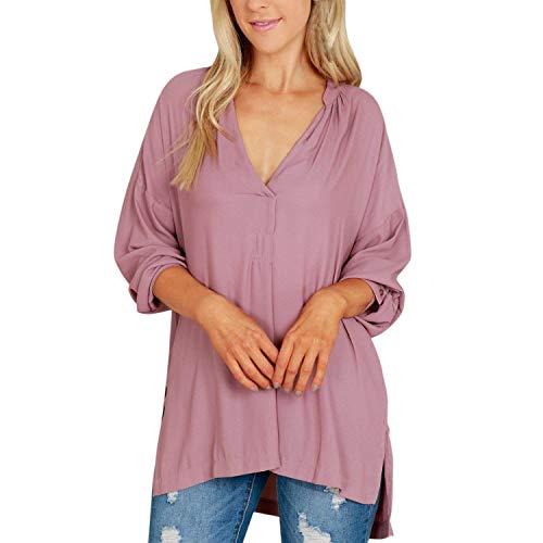 Haut Femme Chic lgant Blouse Chemise Costume Confortable Mode Cou Casual Rose Longues Blouse Irrgulier Uni V Tops Fourcher Manche Printemps Manches 4IxxwFA