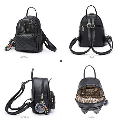Girls Rabbit Ear Cute Mini Leather Backpack, XB Small Backpack Purse for Women Fashion Shoulder Bag (Black) by XB HANDBAG (Image #5)