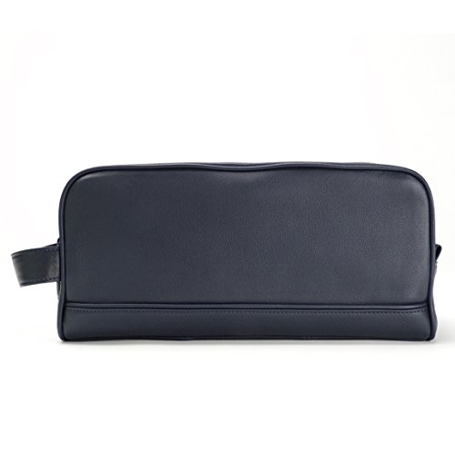 Leatherology Double Zip Toiletry Bag - Full Grain Leather - Navy (blue) by Leatherology (Image #1)