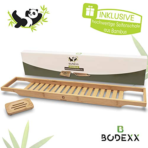 BODEXX® Badewannenablage mit Seifenschale – hochwertiges Badewannen-Regal aus Bambus als praktisches Badewannenbrett für Badezubehör, Kerzen & Getränke, universale Passform, nachhaltiges Material