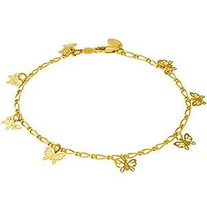 Lifetime Jewelry Butterfly Anklet for Women Men & Teen Girls 24k Gold Plated