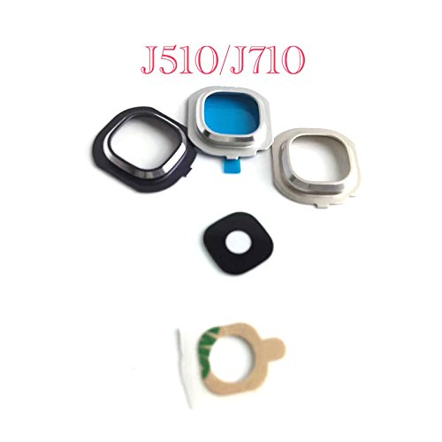 free shipping Silver Color Rear Back Camera Lens Cover Frame Glass Replacement Repair for Samsung Galaxy J7 J710 2016