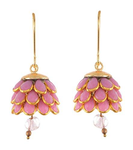 Tavish Jewels Pink Brass Jhumki Earrings for Women  TV1273