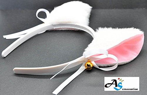 [A&S Creavention? White Cat Ears Hairband Cosplay Fancy Dress Costumes Party Headbands] (Cute Unique Costumes)