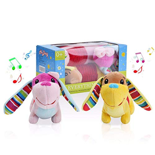 (AliBoBo Novelty Plush Musical Dog Toys , Interactive Multicolored and Soft Infant Toys, Bells and Rattle Educational Toddler Plush Baby Toys for Newborn Boys, Girls and Over 3 Month)