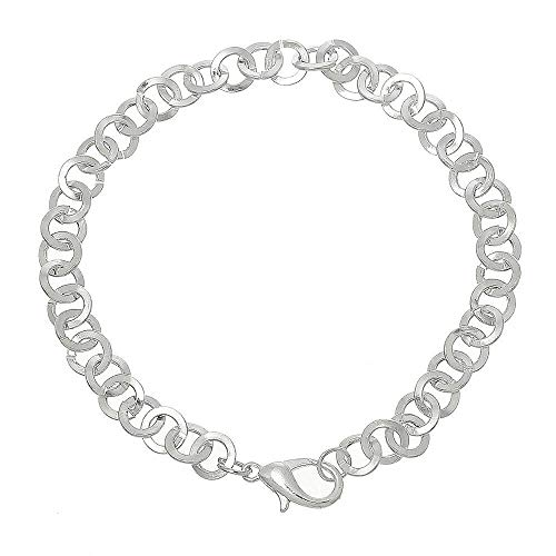 (2 Bracelets Rollo Link Chain Silver Plated Perfect Base 21cm ODSF-10101)