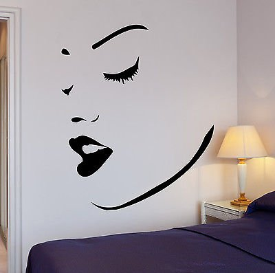 Wall Stickers Vinyl Decal Perfect Sexy Girl Women Face Lips Makeup Spa (vs659)