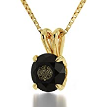 """Yellow Gold Plated Arabic Necklace Islamic Ayatul Kursi Inscribed in 24kt Gold on Crystal, 18"""" NanoStyle Jewelry"""