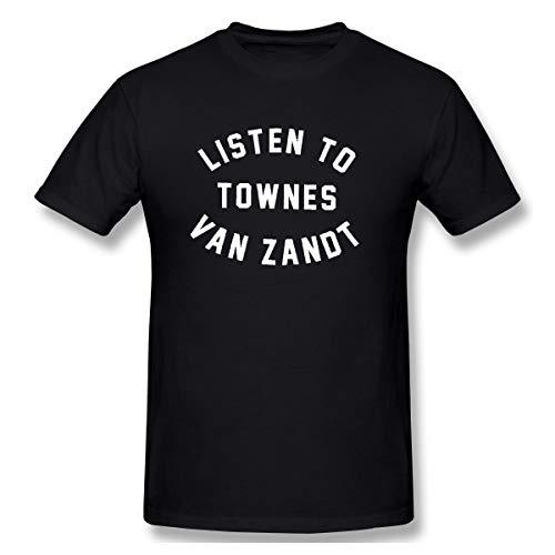 PopularTee Men Listen to Townes Van Zandt Bandana Suitable T Shirts Black L (Listen To Townes Van Zandt T Shirt)