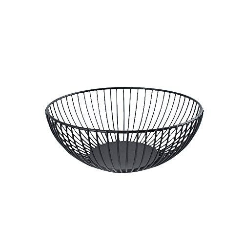 FanDuo Metal Wire Fruit Basket - Kitchen Countertop Fruit Bowl Vegetable Holder Decorative Stand for Bread, Snacks, Households Items Storage, Black ()