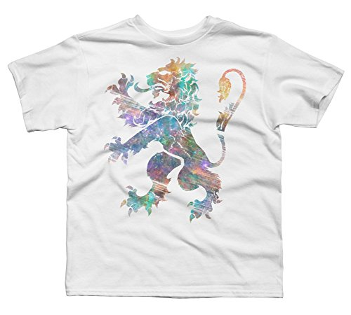 Cosmic Lion Rampant Boy's X-Small White Youth Graphic T (Cosmic 9 Arm)