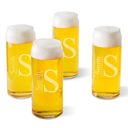 Personalized Tall Boy Beer Glasses - Set of 4 - Modern Monogram