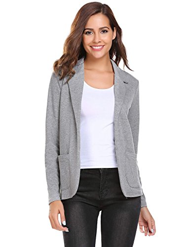 Zeagoo Women Casual Long Sleeve Turn Down Collar Slim Waist Blazers Jackets for Work Grey - Women Linen Blazer