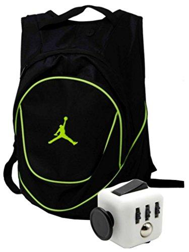 Nike Air Jordan Jumpman 23 Black Book Bag Backpack with FREE FIDGET CUBE (Black/Green) by NIKE