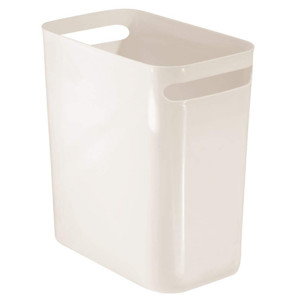 "mDesign Slim Plastic Rectangular Large Trash Can Wastebasket, Garbage Container Bin with Handles for Bathroom, Kitchen, Home Office, Dorm, Kids Room - 12"" High, Shatter-Resistant - Cream/Beige"