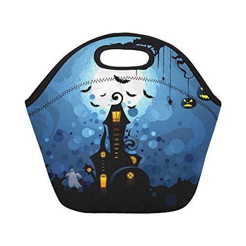 Lightweight Lunch Bag Insulated Lunch Tote Halloween Skull Design Reusable Neoprene Bags For Women Men Kids -
