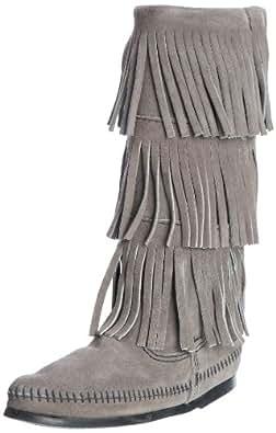 Minnetonka Women's 3-Layer Fringe Boot,Grey,5 M US