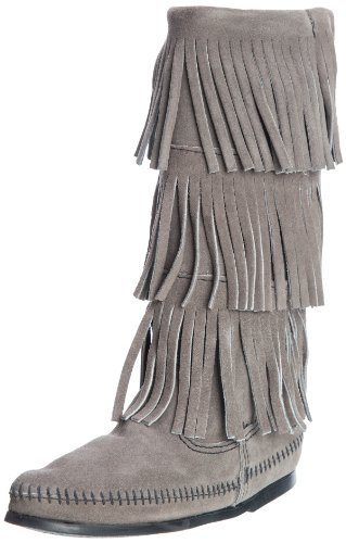 - Minnetonka Women's 3-Layer Fringe Boot,Grey,5 M US