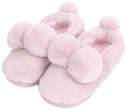 UIESUN Unisex Cute Ball House Slippers Winter Soft Plush Bedroom Indoor Slipper shoes for Lovers Cherry 36/37 (Plush Booties)