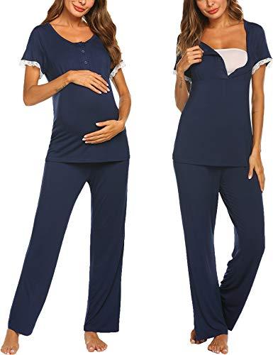 (Ekouaer Women's Soft Maternity Nursing Cotton Pajamas Set Casual Wear Breathable Tops Pants Set(Navy Blue/XL))