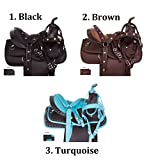 """AceRugs 10"""" 12"""" 13"""" Crystal Show Western Synthetic Children Youth Horse Saddle TACK Set Bridle REINS Breast Collar PAD"""