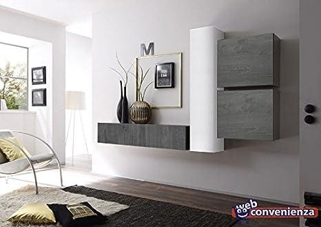 Web Convenienza Cube 3 I - Parete Attrezzata Rovere Grigio e Bianco ...