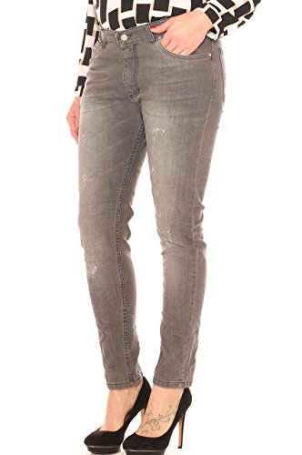#Curvy by Coyba Jeans Sigaretta Donna Scuro in Denim Stretch con Usure Taglia Morbida Grigio