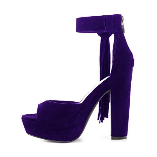 Sandaalit Purple Kärki Naisten Korkokengät Avoin Alustan Paksu Mokka Nilkkalenkki Ydn Deep Htvwqc