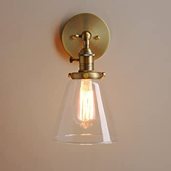 Permo Industrial Wall Sconce Lighting With On/Off Switch Funnel Flared  Clear Glass Hand Blown Shade (Antique)