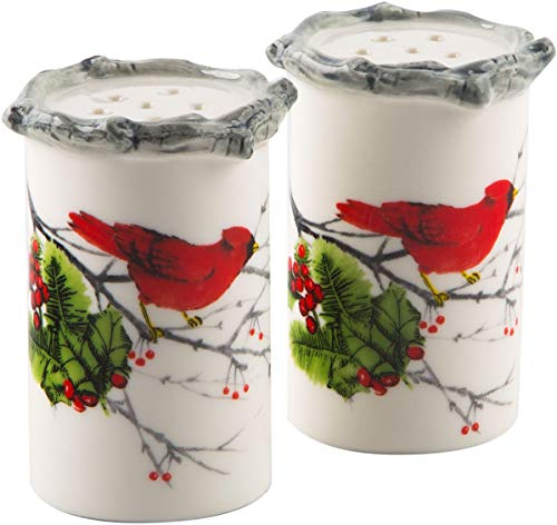Salt & Pepper Shaker Cardinal Holly Round With Bamboo Rim Set Christmas Holiday New Years Stocking Kitchen Cooking Family Red & White Hostess Gift (Cardinal Holly) (Hostess Gifts Christmas For)