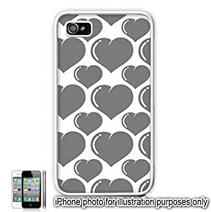 Gray Grey Bubble Hearts Love Monogram Pattern Apple iPhone 4 4S Case Cover Skin White