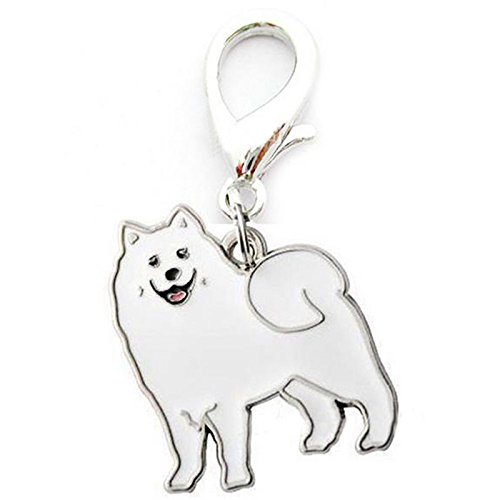 (XuBa Metal Dog Key Chain Lovely Puppy Pendant Keyring Keychain Woman Bag Charm Gift Samoyed 2.5Cm)