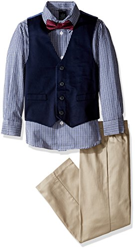 - Nautica Boys' 4-Piece Vest Set with Dress Shirt, Bow Tie, Vest, and Pants, Khaki, 6